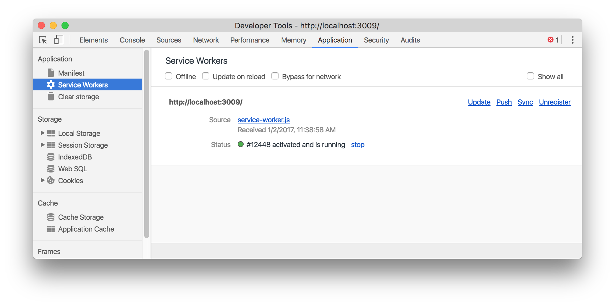 Dev Tools Service Workers