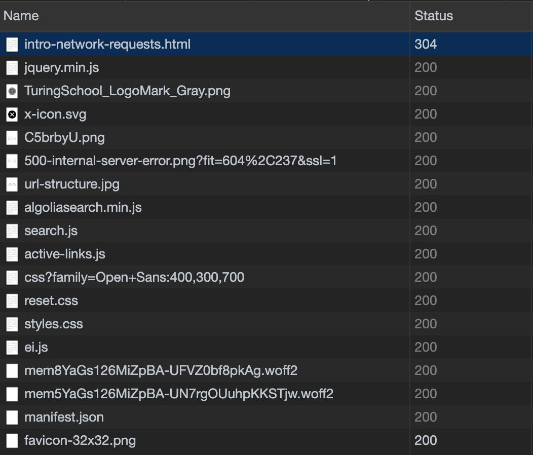 network request response codes in dev tools