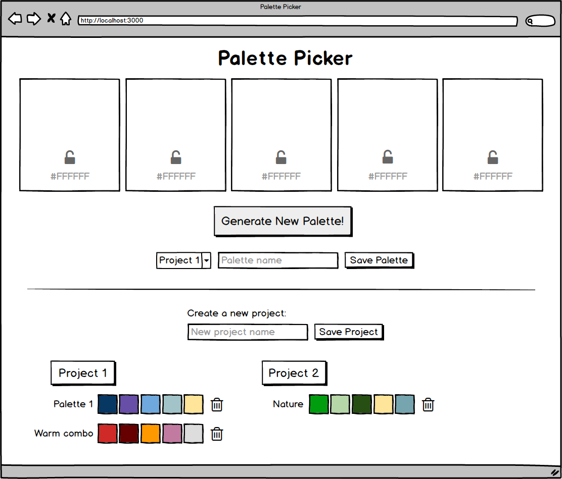 Palette Picker Wireframe