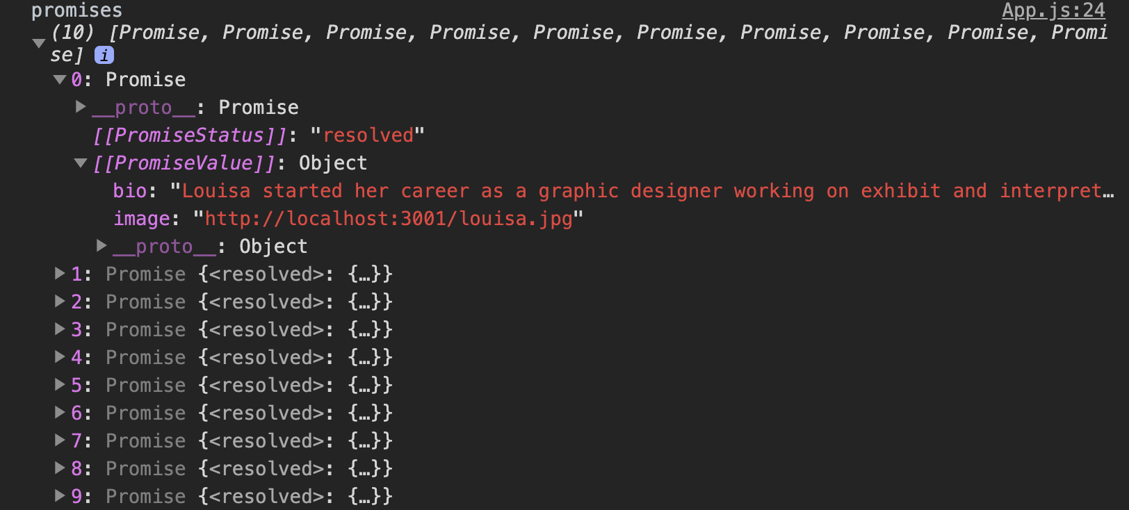 console.log of Promises